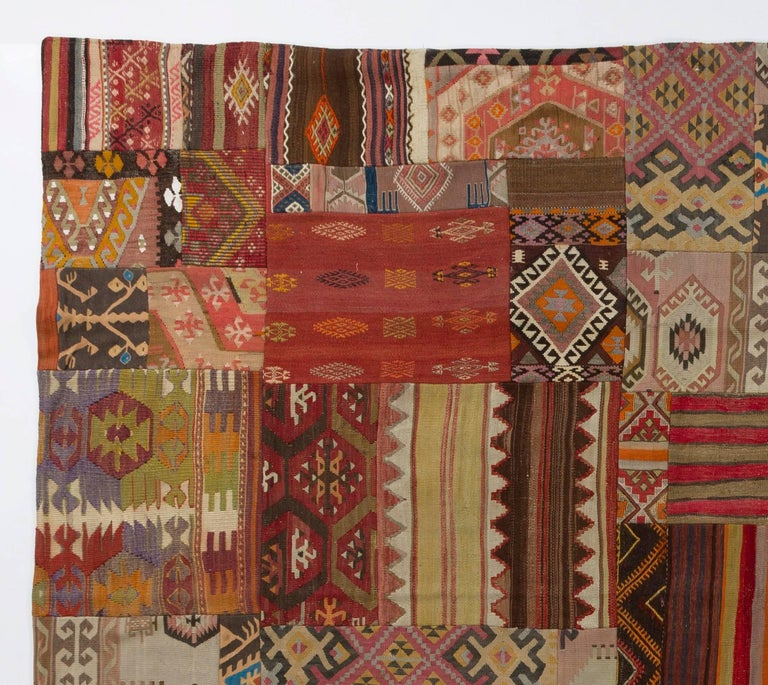 Unique Patchwork Rug Made Of Vintage Anatolian Kilims For