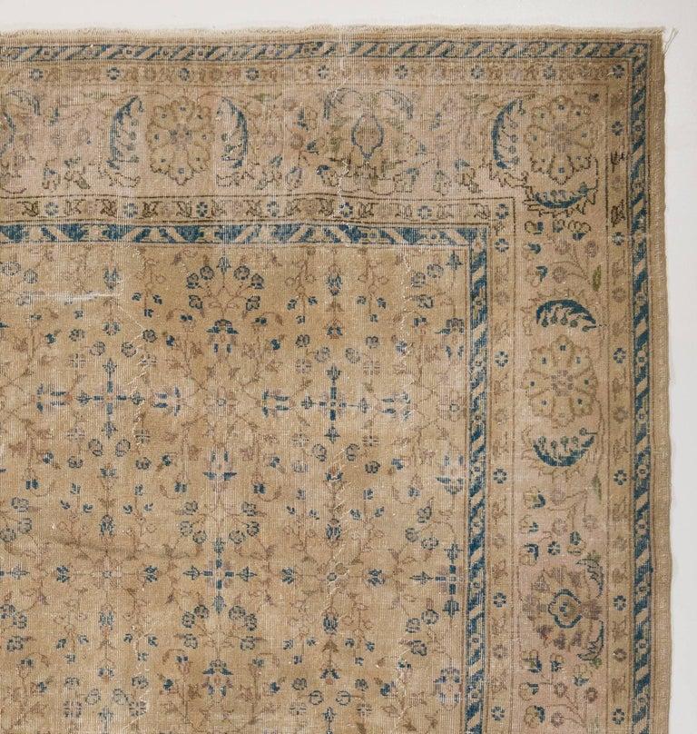Vintage Turkish Sivas Rug In Beige And Teal Blue Accents