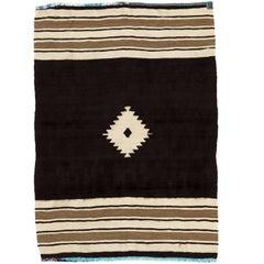 4x6 Ft Vintage Mohair Wool Flatweave Rug, Floor Cover. Sofa Throw. Wall Hanging.