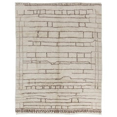 7x10 Ft Modern Hand-knotted Moroccan Rug, Natural Un-dyed Wool, Custom Opt Avl