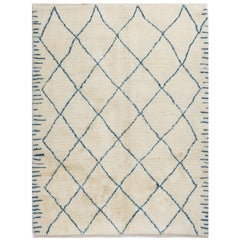 Contemporary Moroccan Wool Rug in Ivory and Blue Colors