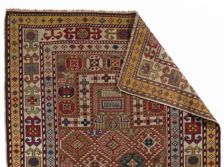 Tribal Antique Caucasian Akstafa Prayer Rug With Camel Hair Ca 1875 For