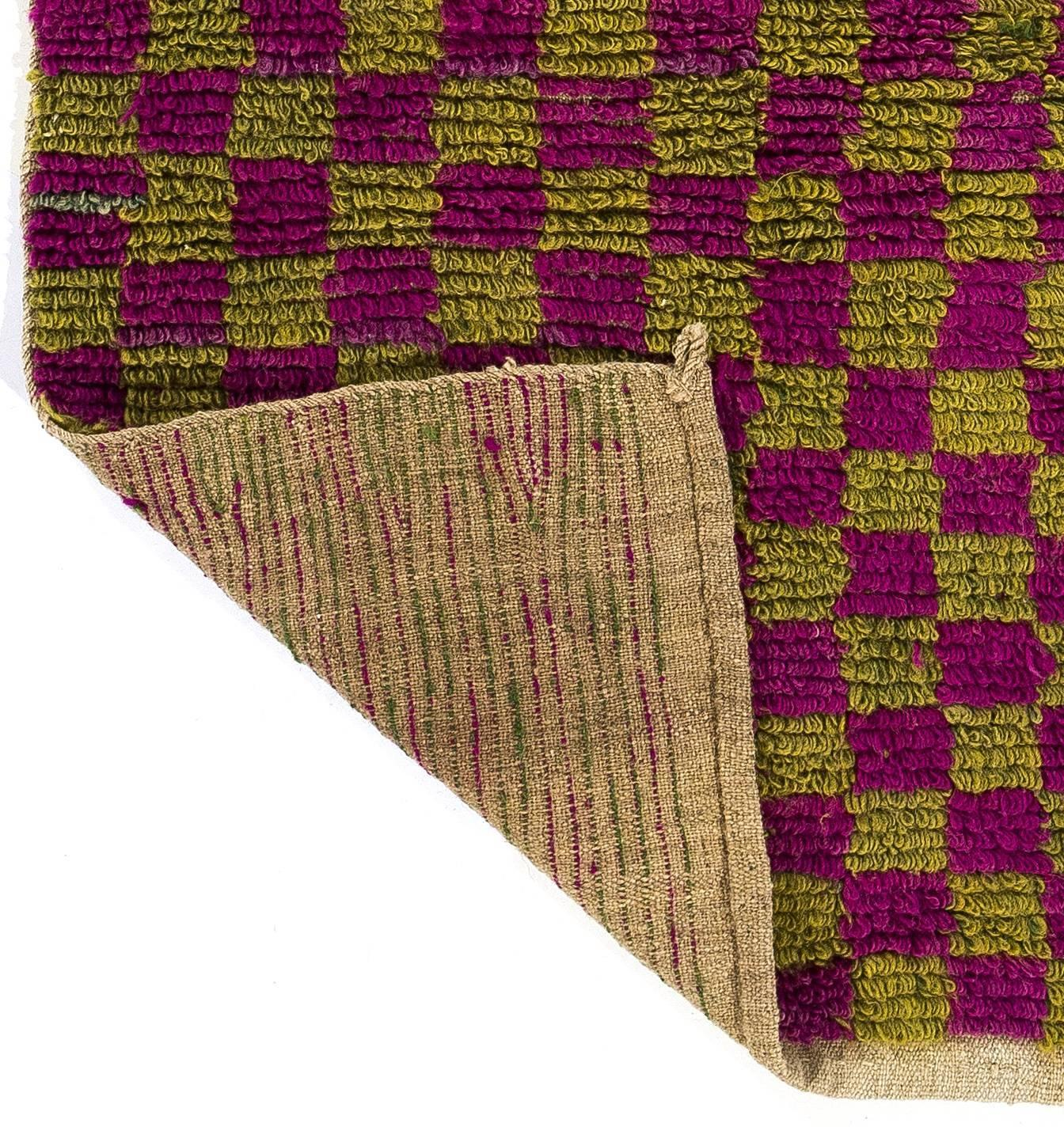 """Checkered Vintage """"Tulu"""" Rug In Purple And Lime Green For"""
