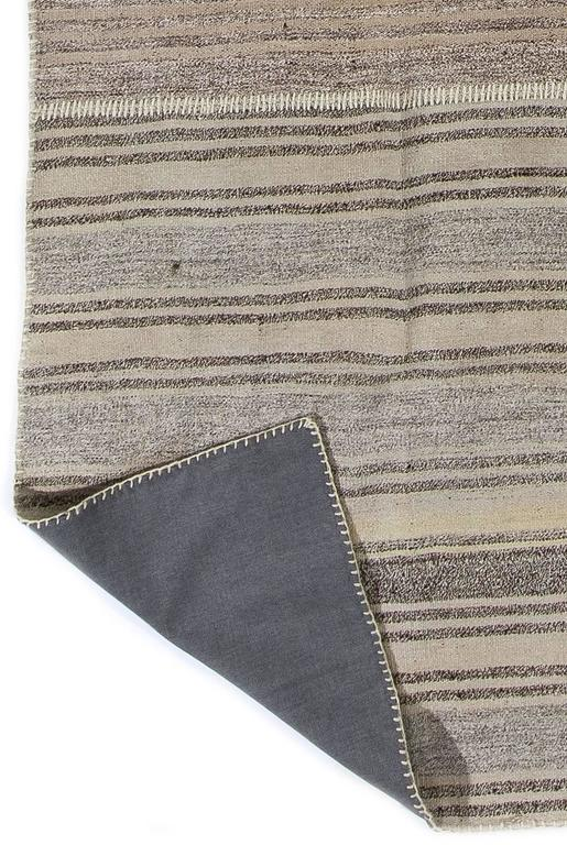 Hand-Woven Hemp and Goat Hair Striped Anatolian Kilim For Sale