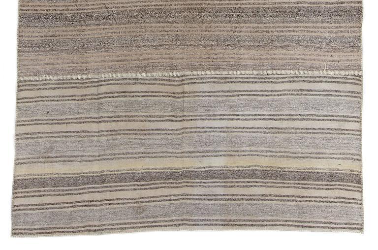Turkish Hemp and Goat Hair Striped Anatolian Kilim For Sale