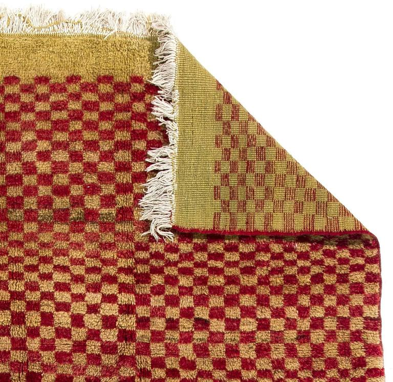 """Red And White Checkered Rug: Checkered Midcentury """"Tulu"""" Rug In Red And Yellow Green"""