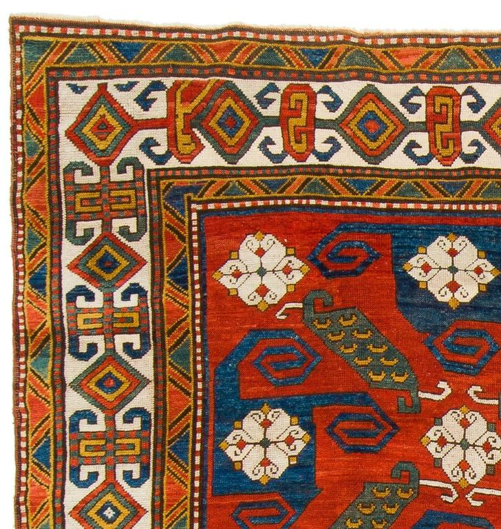 Rare Antique Caucasian Pinwheel Kazak Rug In Well Preserved Condition Provenance A Private Collection
