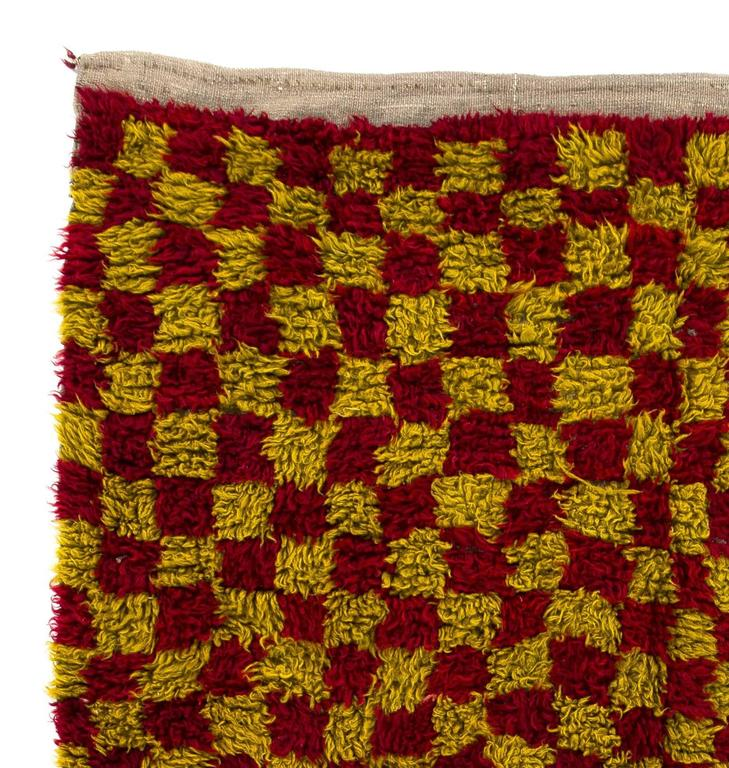 Turkish Chequered Mid-Century Tulu Rug For Sale