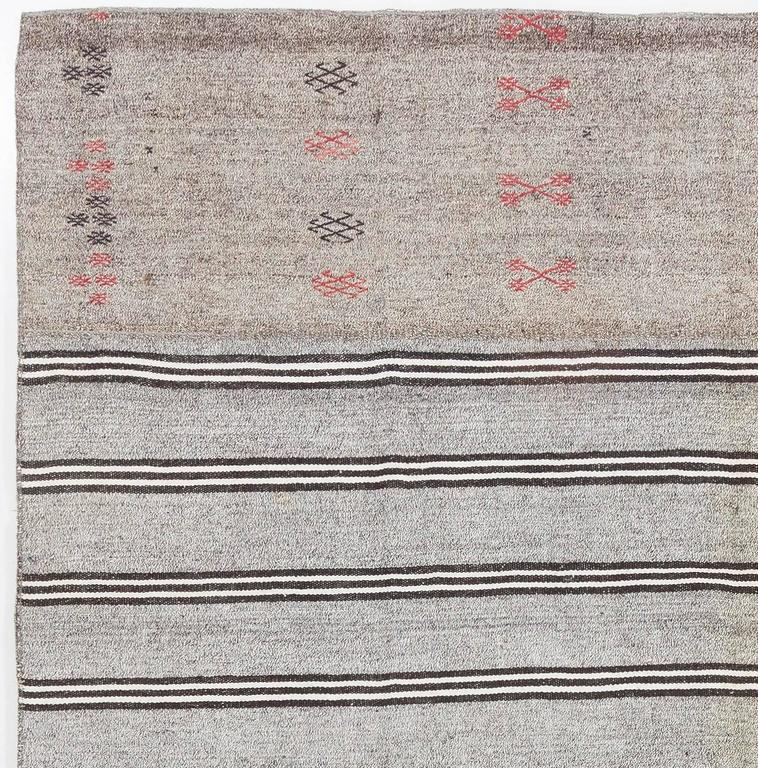 Turkish Cotton and Goat Hair Nomadic Kilim Rug For Sale