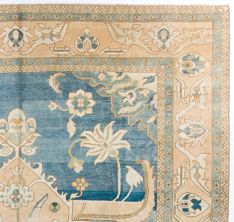 Vintage Konya Rug In Soft Pink Blue And Beige Colors At