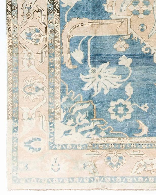Vintage Konya Rug In Soft Pink Blue And Beige Colors At