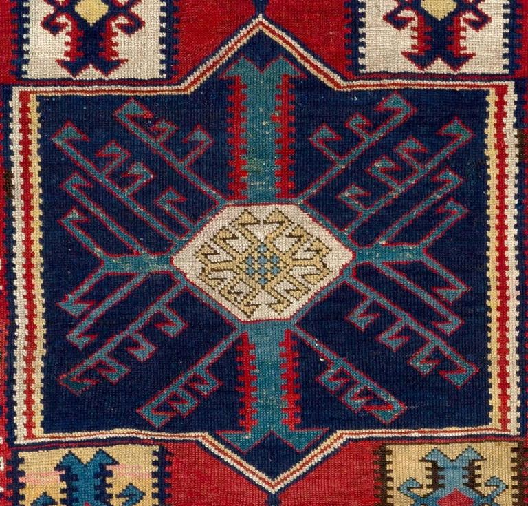 Antique Caucasian Rug With Unusual Kilim Design For Sale
