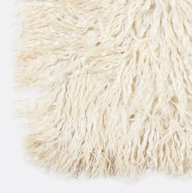 Hand-Woven Shag Pile Mohair Tulu Rug  For Sale