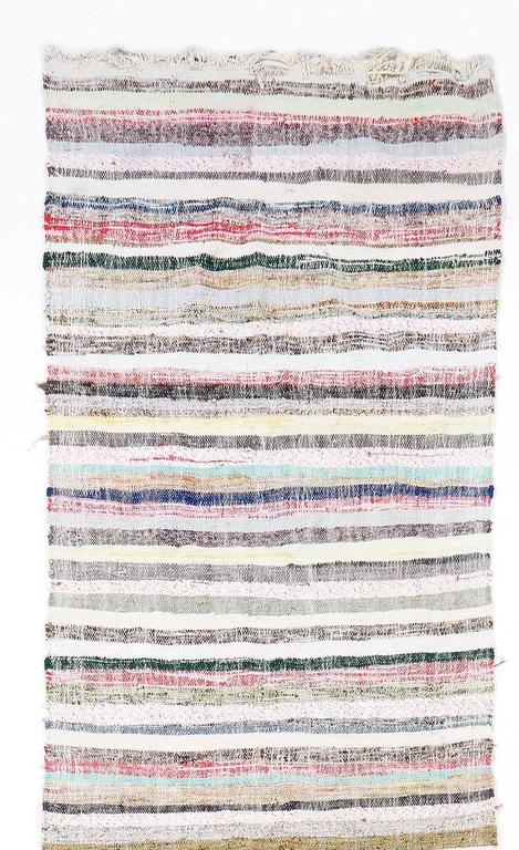 Turkish Long Striped Cotton Kilim Runner For Sale