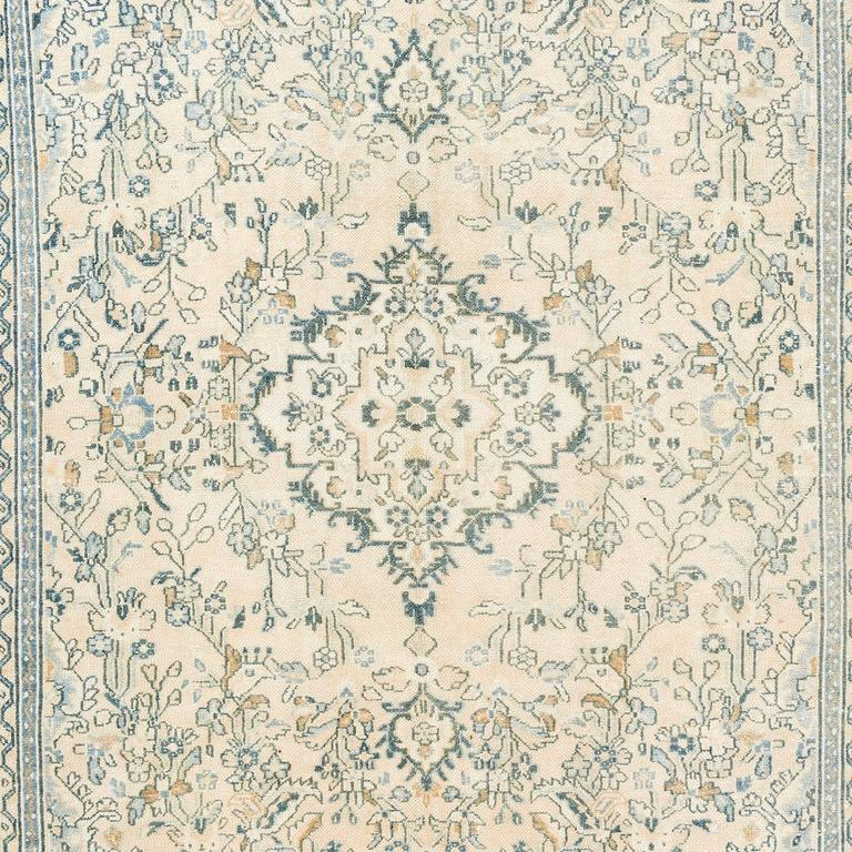 Vintage Oushak Area Rug In Soft Aqua Blue, Teal, Rust And