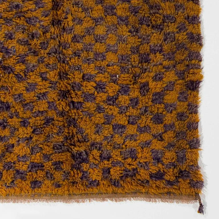 "Yellow Checkered Rug: Checkered Midcentury ""Tulu"" Rug In Yellow And Lilac Colors"