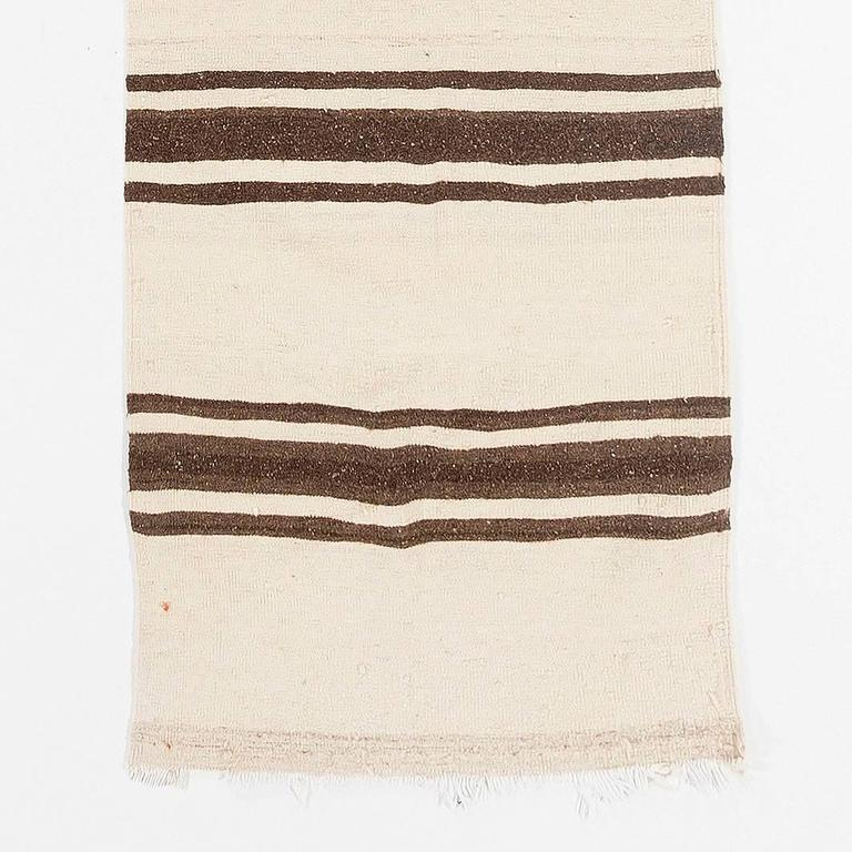 Turkish Narrow  Kilim Runner - Made of Natural Undyed Wool For Sale