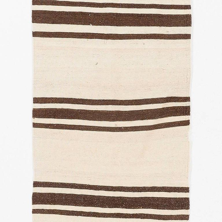 Hand-Woven Narrow  Kilim Runner - Made of Natural Undyed Wool For Sale
