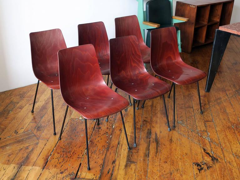 Set of six CM131 bakelized plywood dining chairs by Pierre Paulin for Thonet, manufactured by Thonet, circa 1954. This design rarely surfaces on the market. Excellent vintage condition.