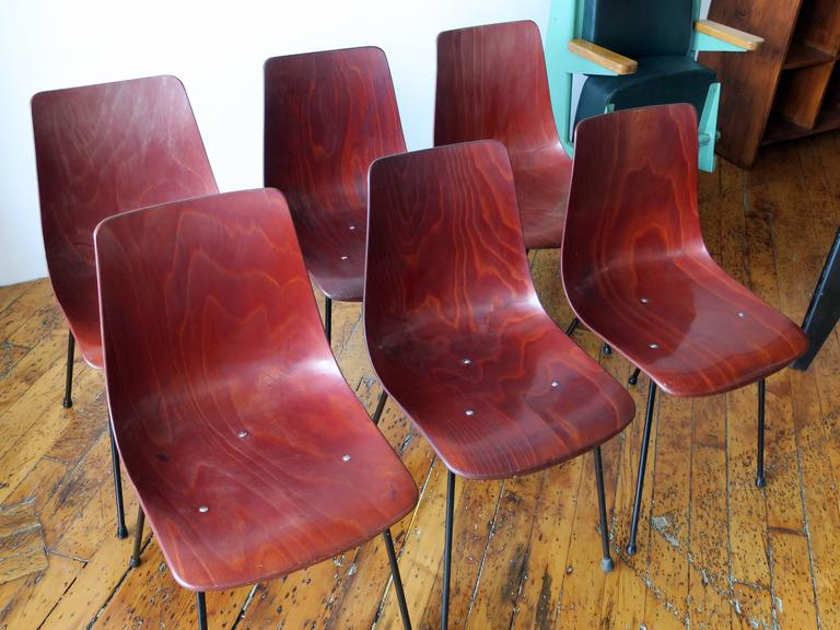 Mid-Century Modern Pierre Paulin Set of Six CM131 Dining Chairs, circa 1954 For Sale