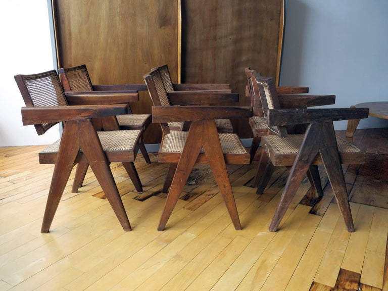 Pierre Jeanneret Grouping of Six Floating Back Armchairs 2