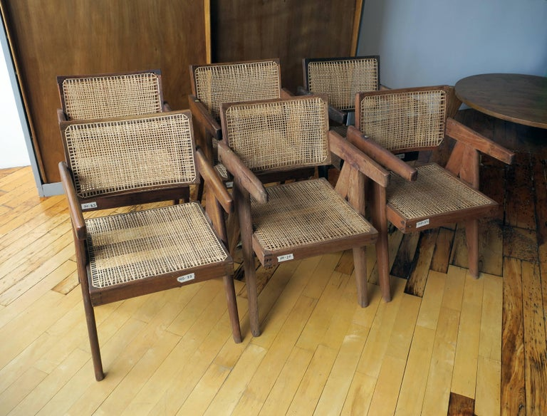 Indian Pierre Jeanneret Grouping of Six Floating Back Armchairs For Sale