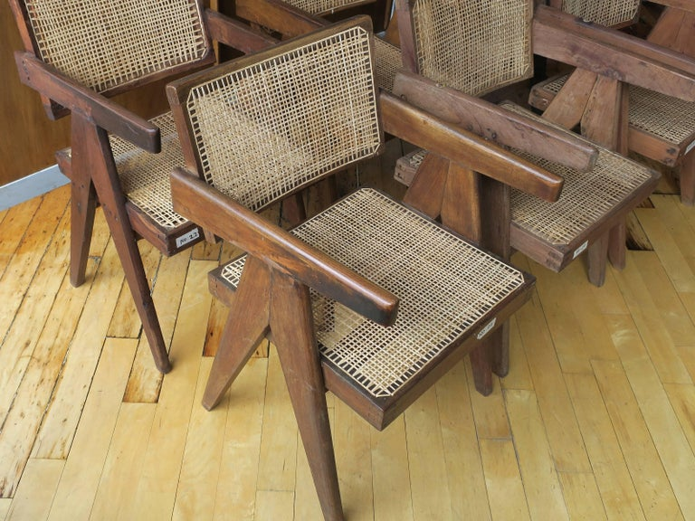 Pierre Jeanneret Grouping of Six Floating Back Armchairs In Excellent Condition For Sale In Brooklyn, NY