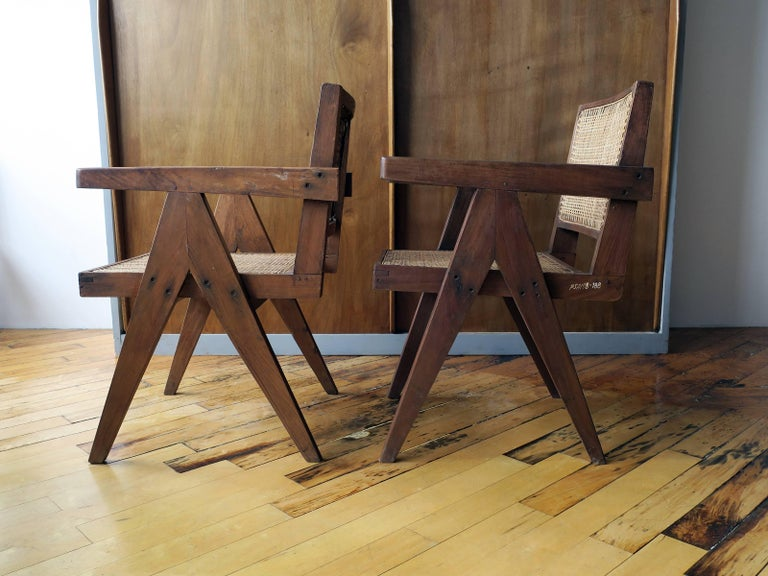 """Pierre Jeanneret Pair of """"V-Leg"""" Armchairs from Chandigarh 2"""