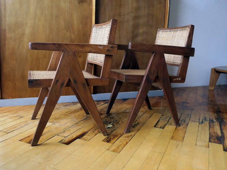 """Pierre Jeanneret Pair of """"V-Leg"""" Armchairs from Chandigarh 3"""