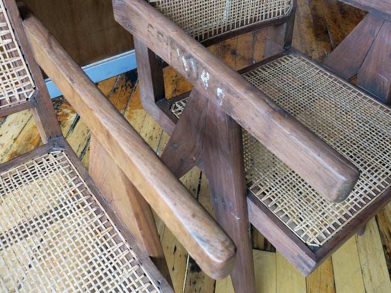 """Pierre Jeanneret Pair of """"V-Leg"""" Armchairs from Chandigarh 5"""
