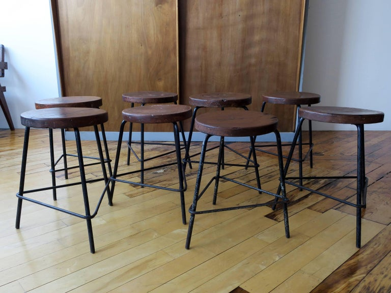 Mid-Century Modern Pierre Jeanneret Grouping of Four Teak and Iron Stools from Chandigarh For Sale