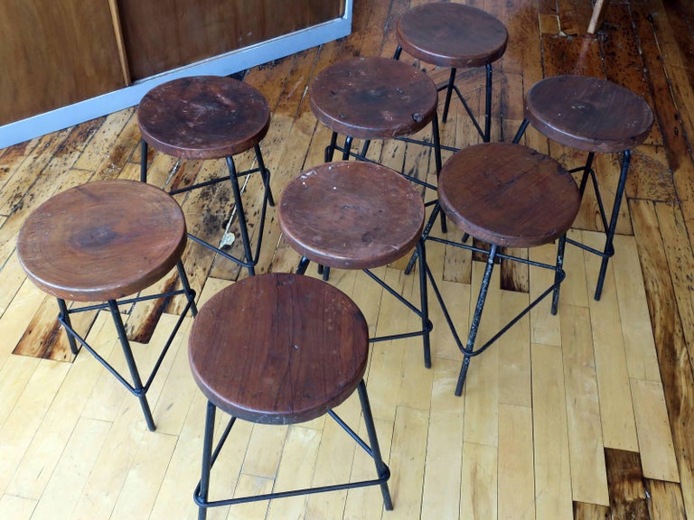 Pierre Jeanneret Grouping of Four Teak and Iron Stools from Chandigarh For Sale 3