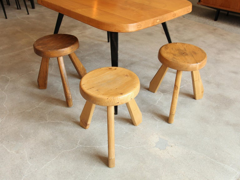 Mid-Century Modern Charlotte Perriand, Stools from Les Arcs, Savoie, circa 1968 For Sale