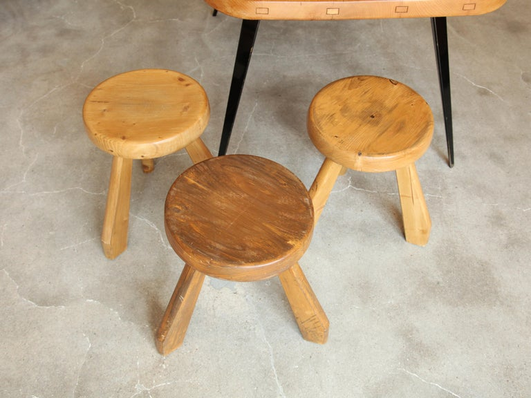 French Charlotte Perriand, Stools from Les Arcs, Savoie, circa 1968 For Sale