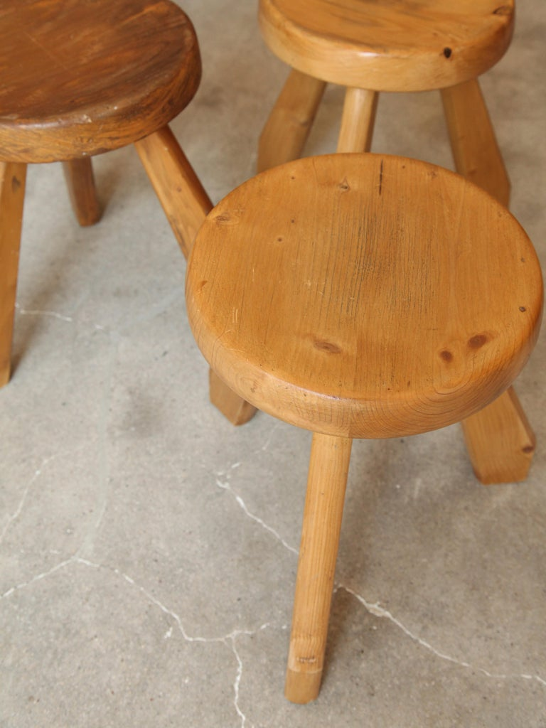 Charlotte Perriand, Stools from Les Arcs, Savoie, circa 1968 In Good Condition For Sale In Brooklyn, NY