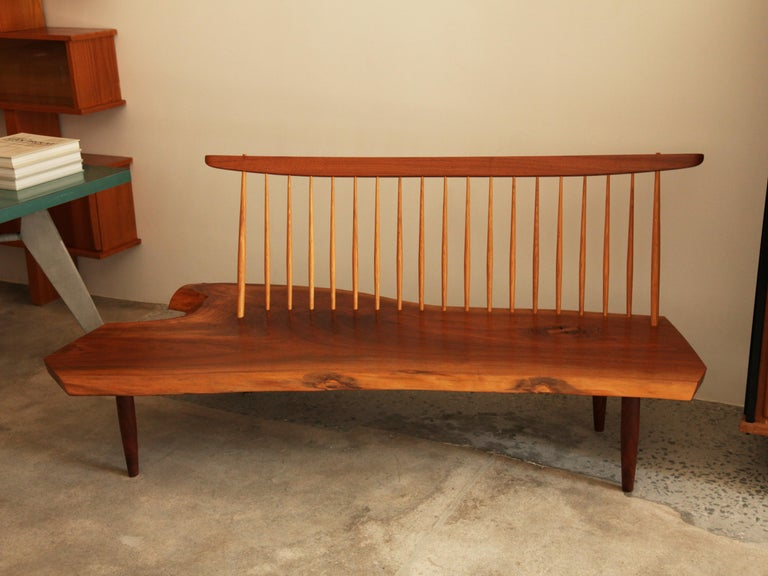 Beautiful Mira Nakashima Conoid bench with back, new hope, Pennsylvania, circa 1992