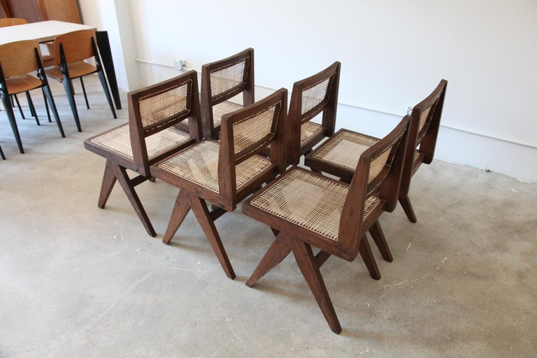 Mid-Century Modern Pierre Jeanneret, Set of Six Armless V-Leg Chairs from Chandigarh, circa 1955 For Sale
