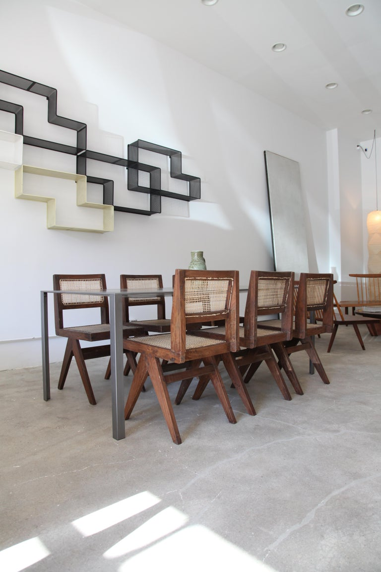Teak Pierre Jeanneret, Set of Eight Armless V-Leg Chairs from Chandigarh, circa 1955 For Sale