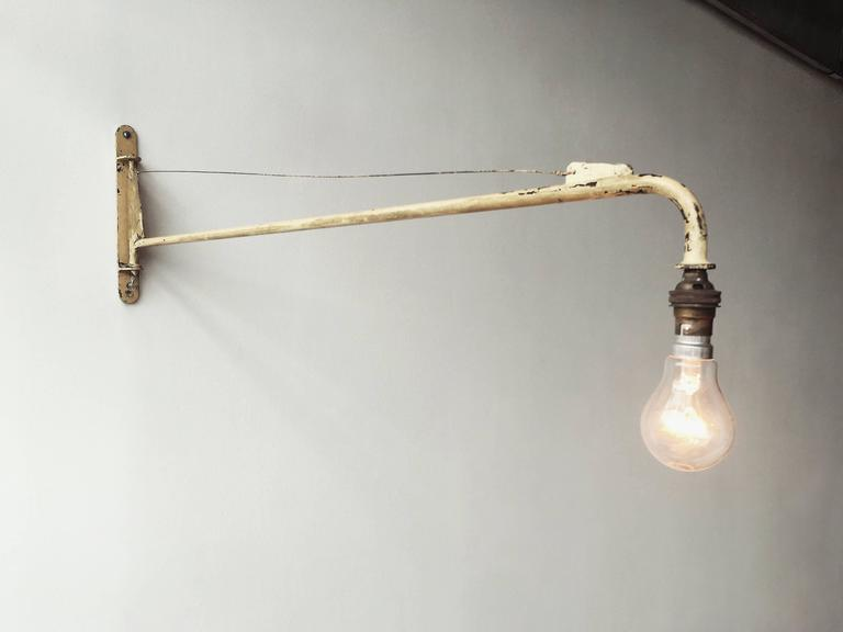 French Jean Prouvé Swing Jib Wall Light from Air France, Dakar For Sale