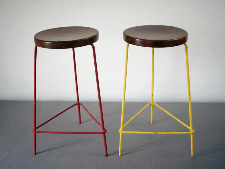 Mid-Century Modern Set of Four Stools from the College of Architecture by Pierre Jeanneret
