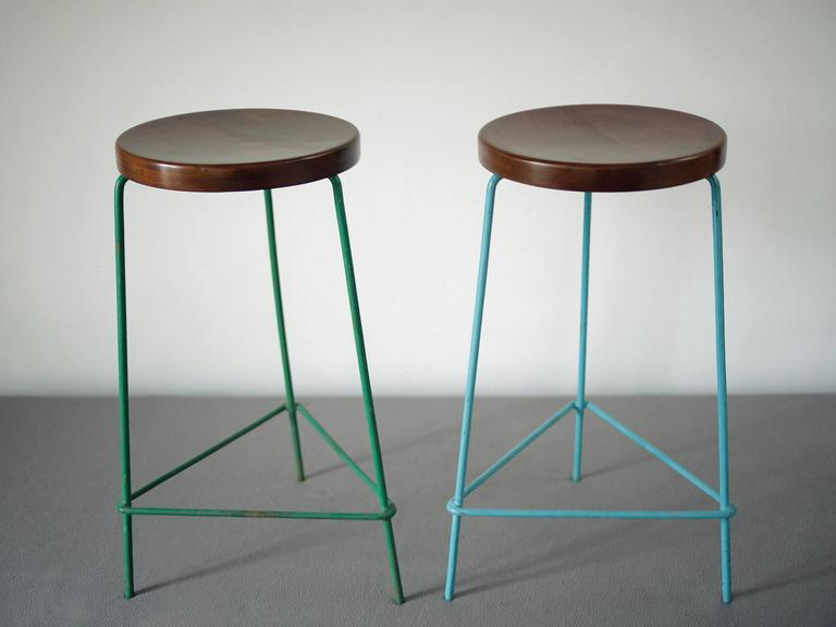 Enameled Set of Four Stools from the College of Architecture by Pierre Jeanneret