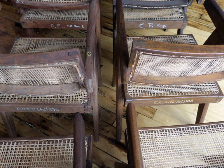 Pierre Jeanneret Grouping of Six Floating Back Armchairs 8