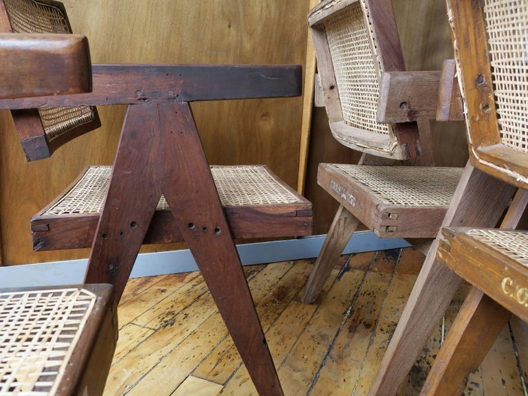Pierre Jeanneret Grouping of Six Floating Back Armchairs 9