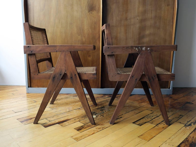 """Pierre Jeanneret Pair of """"V-Leg"""" Armchairs from Chandigarh 6"""