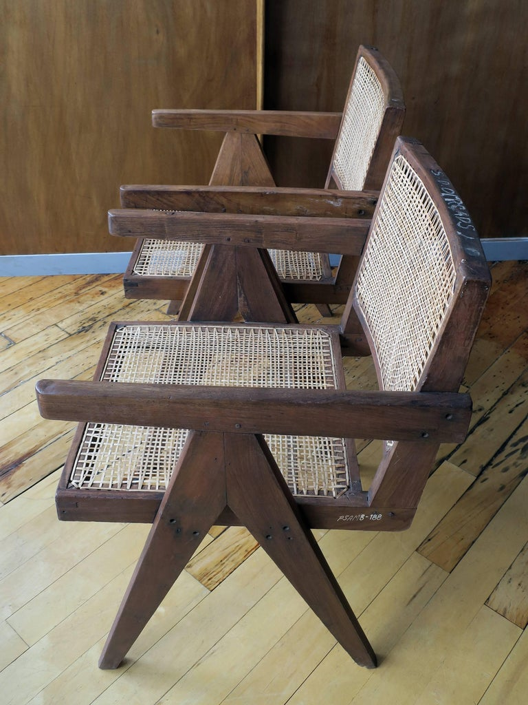 """Pierre Jeanneret Pair of """"V-Leg"""" Armchairs from Chandigarh 7"""