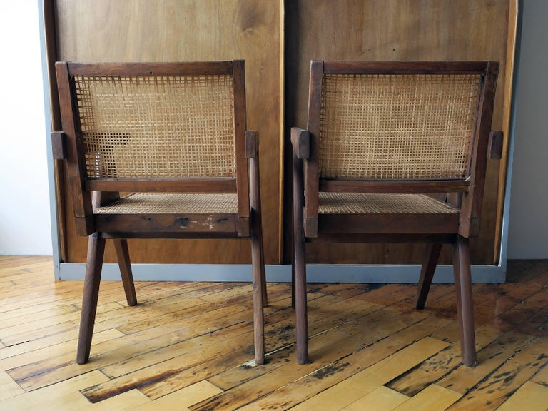 """Pierre Jeanneret Pair of """"V-Leg"""" Armchairs from Chandigarh 9"""