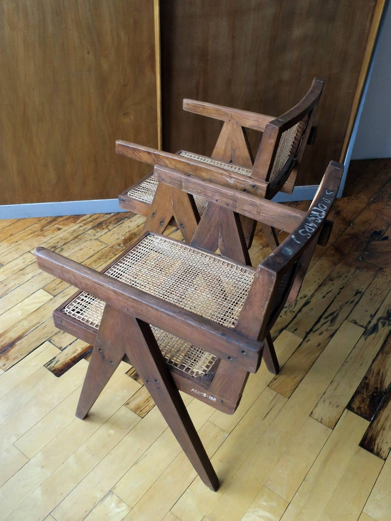 """Pierre Jeanneret Pair of """"V-Leg"""" Armchairs from Chandigarh 8"""