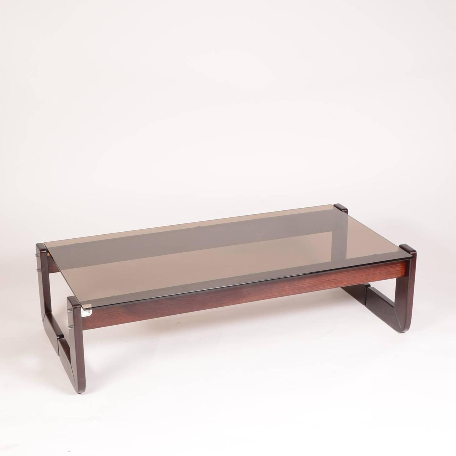 Percival Lafer Rosewood And Smoked Glass Coffee Table At 1stdibs