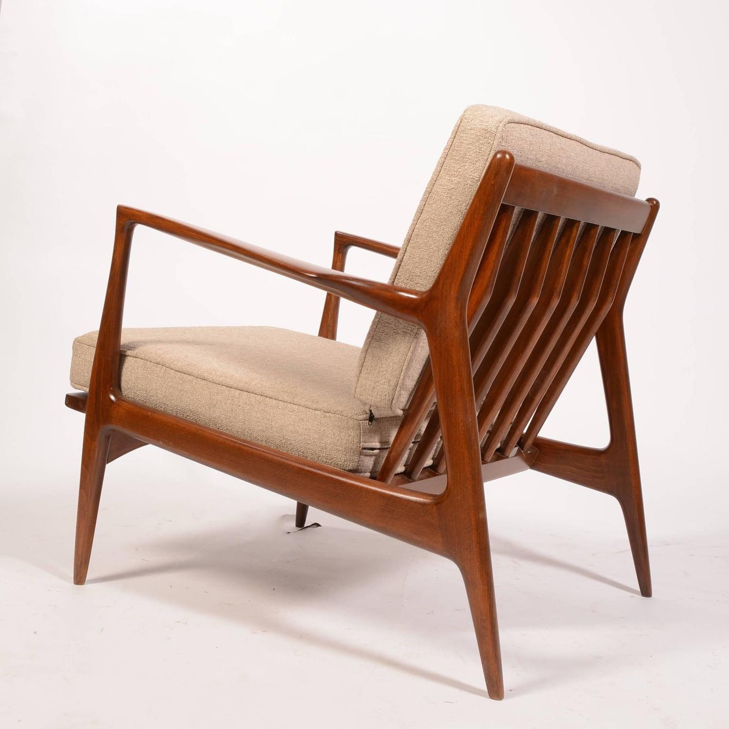 Danish Lounge Chair by Ib Kofod Larsen for Selig Restored at 1stdibs