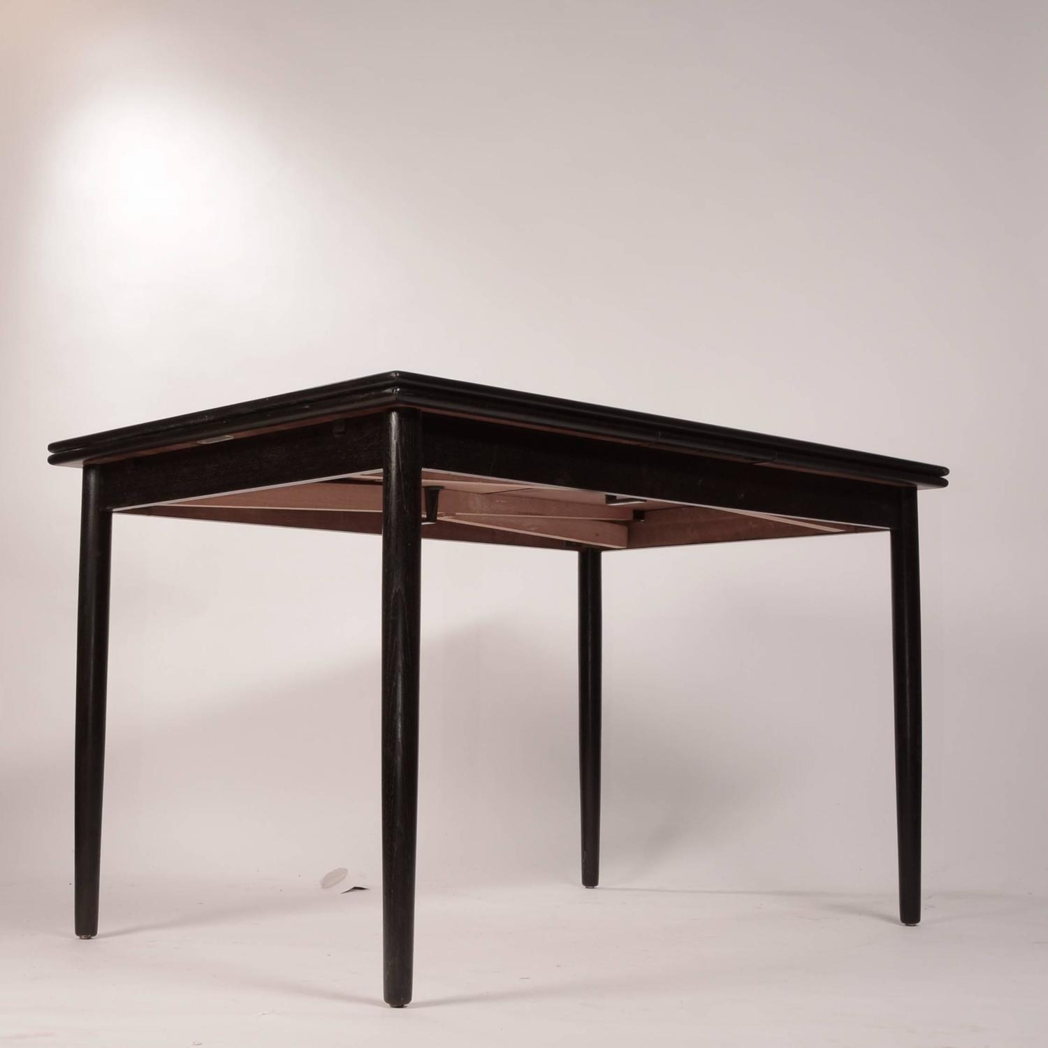 Danish Modern Draw Leaf Dining Table In Ebonized Teak At